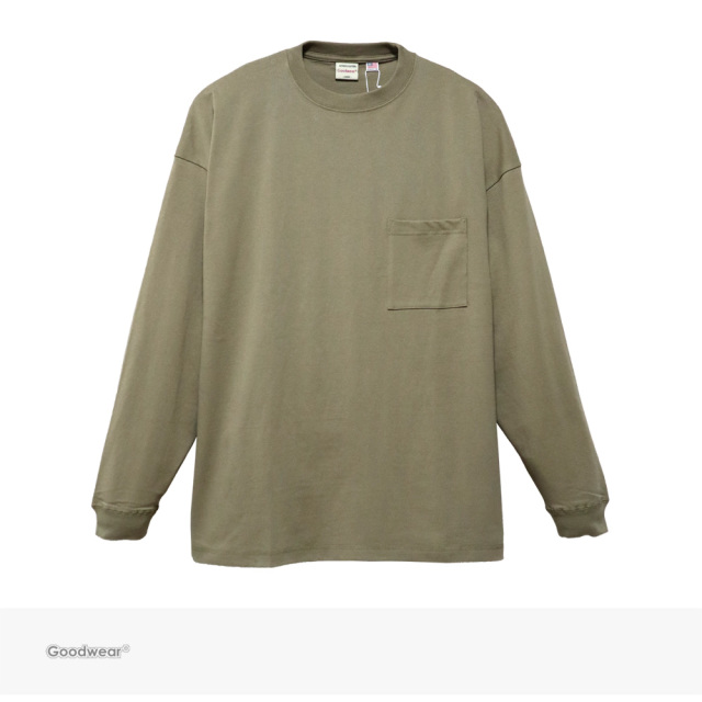 Goodwear USA COTTON SUPER BIG POCKET L/S TEE | BEIGE / グッドウェア Tシャツ
