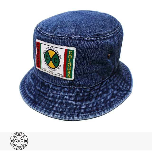 CROSS COLOURS LABEL LOGO DENIM BUCKET HAT | DARK DENIM / クロスカラーズ ハット