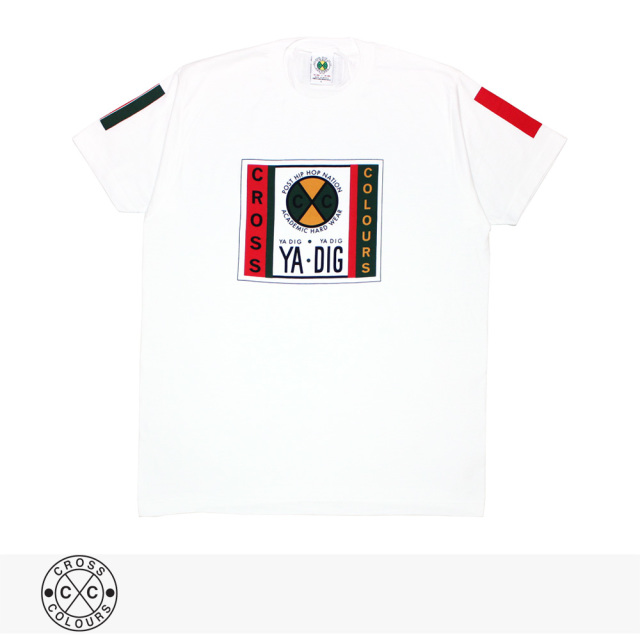 CROSS COLOURS LABEL LOGO T-SHIRT | WHITE / クロスカラーズ Tシャツ