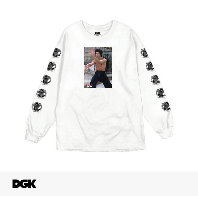 DGK X BRUCE LEE LIKE ECHO LONG SLEEVE T-SHIRT | WHITE / ディージーケー Tシャツ