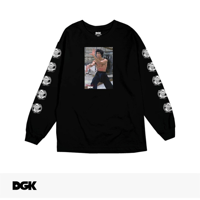 DGK X BRUCE LEE LIKE ECHO LONG SLEEVE T-SHIRT | BLACK / ディージーケー Tシャツ