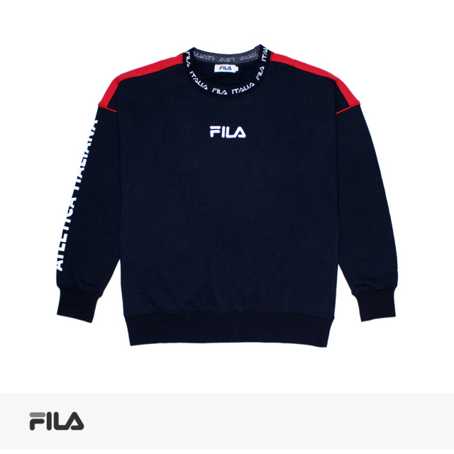 2019 S/S FILA JACQUARD COLLAR SLEEVE PRINT SWEAT | NAVY / フィラ スウェット