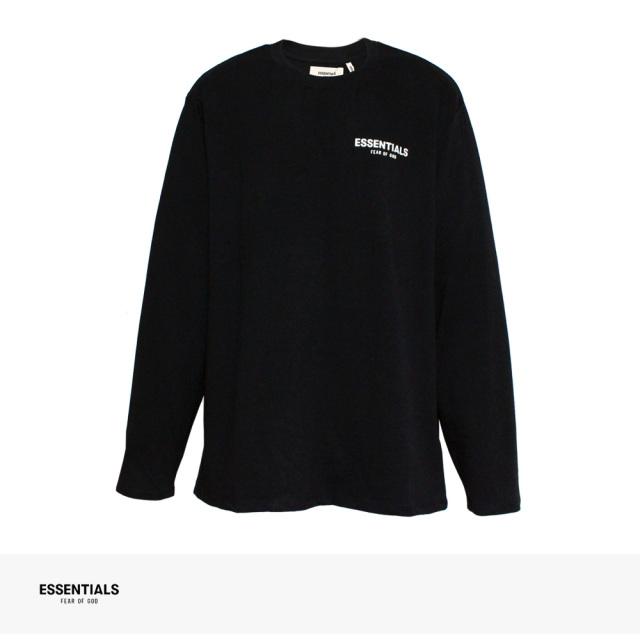 FOG ESSENTIALS BOXY LOGO LONG SLEEVE T-SHIRT | BLACK / エフオージー エッセンシャルズ Tシャツ