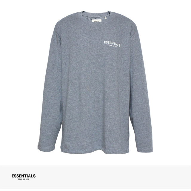 FOG ESSENTIALS BOXY LOGO LONG SLEEVE T-SHIRT   GRAY / エフオージー エッセンシャルズ Tシャツ