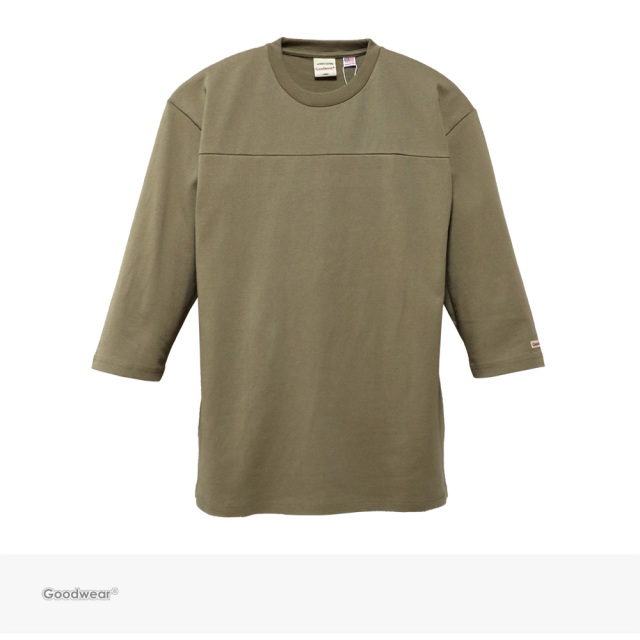 Goodwear USA COTTON 切替7分袖 TEE | BEIGE / グッドウェア Tシャツ