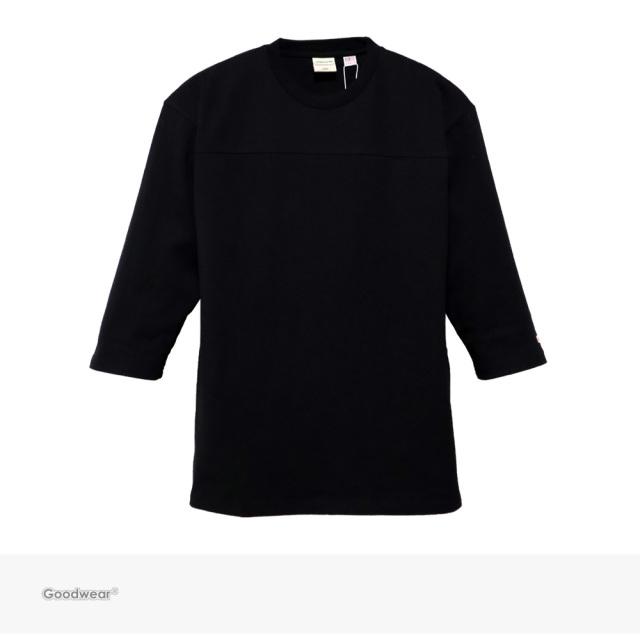 Goodwear USA COTTON 切替7分袖 TEE | BLACK / グッドウェア Tシャツ