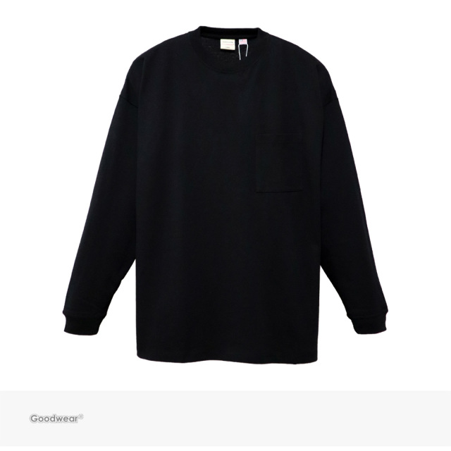 Goodwear USA COTTON SUPER BIG POCKET L/S TEE | BLACK / グッドウェア Tシャツ