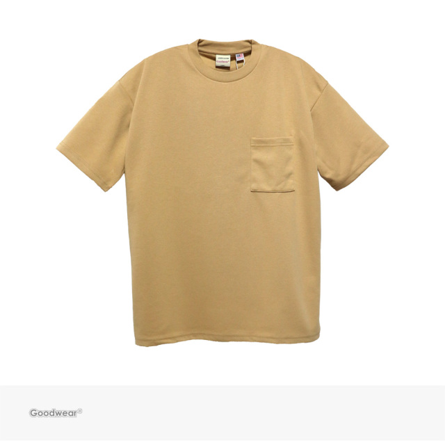 Goodwear USA COTTON 吸水速乾 BIG POCKET TEE | BEIGE / グッドウェア Tシャツ