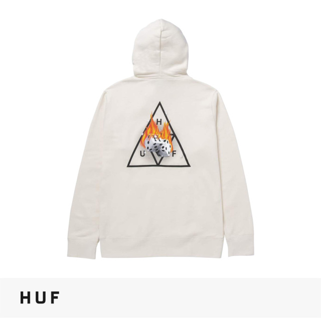 2021 FALL HUF HOT DICE TRIPLE TRIANGLE PULLOVER HOODIE | NATURAL / ハフ パーカー