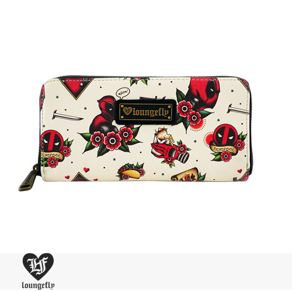 LOUNGEFLY × MARVEL DEADPOOL TATTOO FLASH PRINT WALLET / ラウンジフライ ウォレット