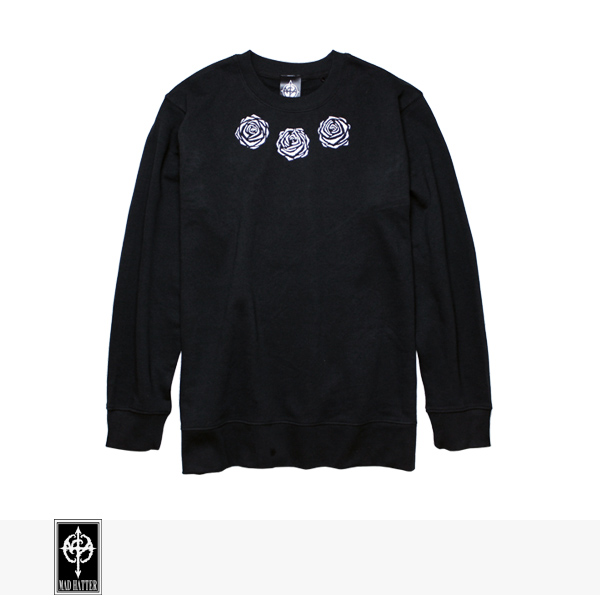 MAD HATTER ROSES SWEAT | BLACK | WHITE / マッドハッター