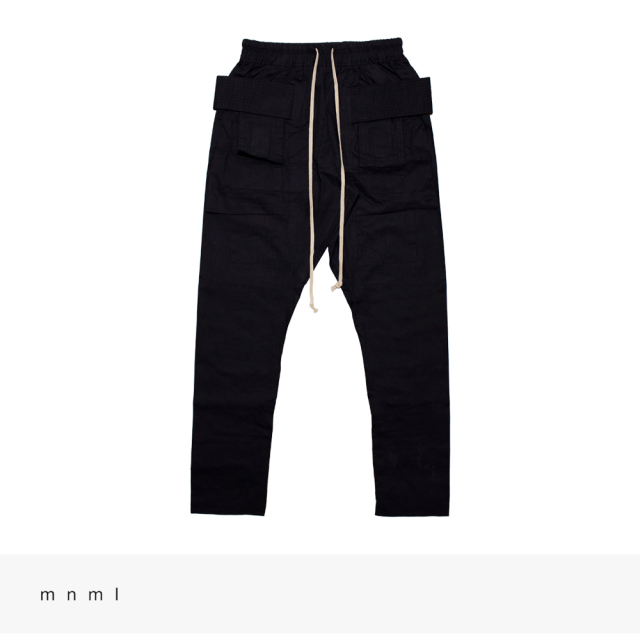 mnml DROP CROTCH CARGO PANTS | BLACK / ミニマル パンツ