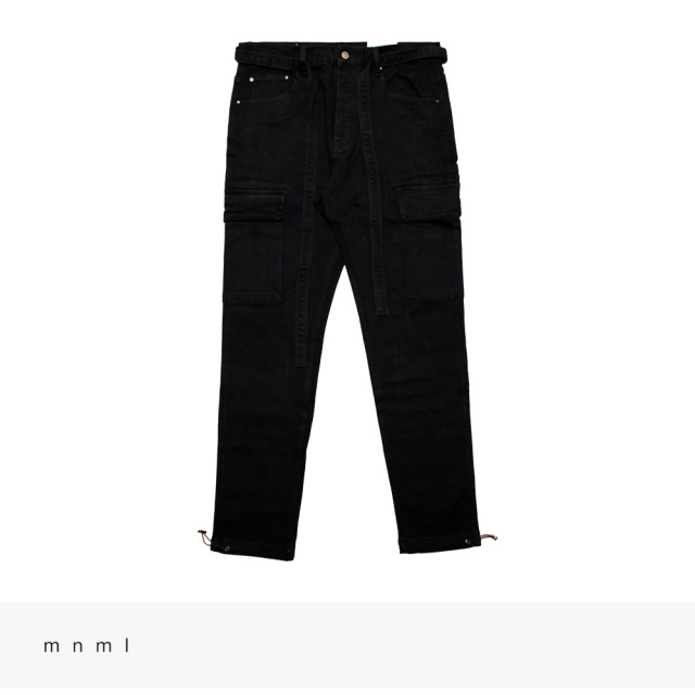 mnml DENIM CARGO PANTS | BLACK / ミニマル パンツ
