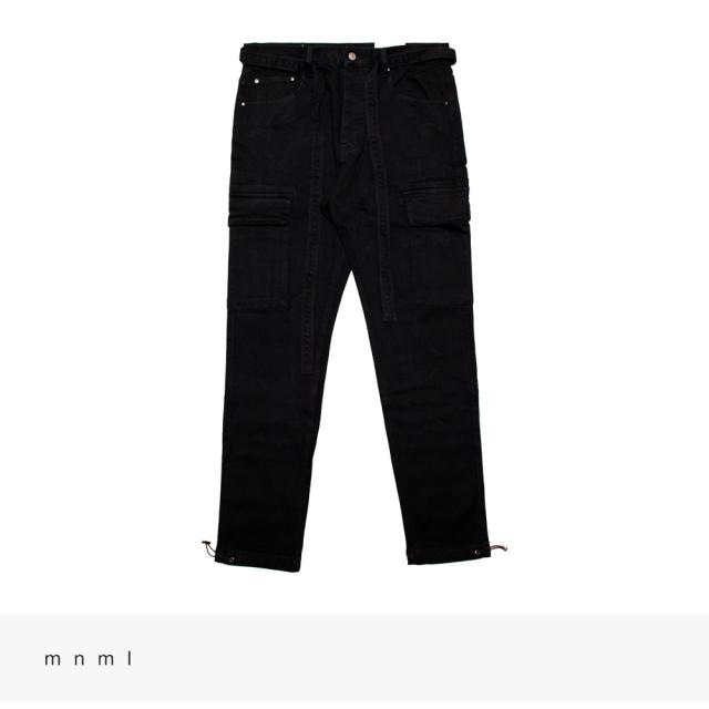 mnml DENIM CARGO PANTS | BLACK / ミニマル パンツ
