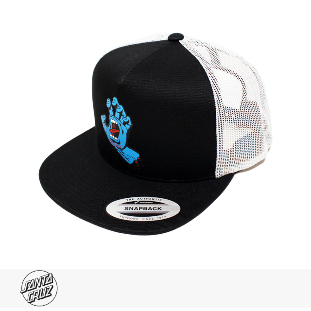 SANTA CRUZ SCREAMING HAND FRONT MESH TRUCKER | WHITE | BLACK / サンタクルーズ キャップ