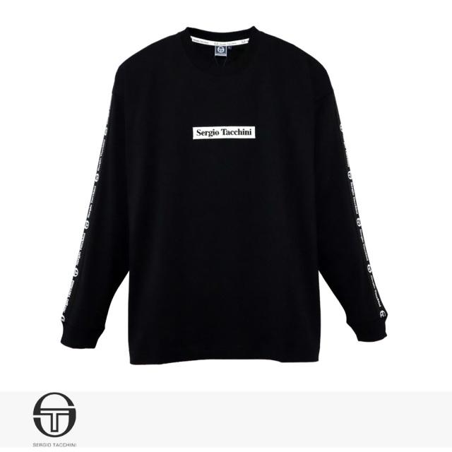SERGIO TACCHINI BIG SILHOUETTE LOGO LINE LONG T-SHIRT | BLACK / セルジオタッキーニ Tシャツ