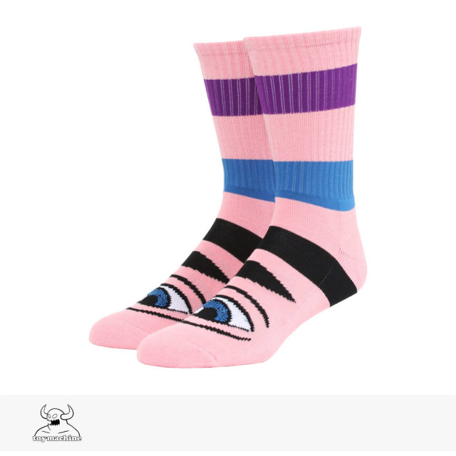 TOY MACHINE SECT EYE BIG STRIPE SOCKS | PINK / トイマシーン ソックス
