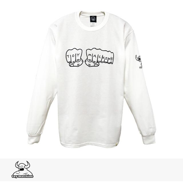 2019 F/W TOY MACHINE FIST LONG SLEEVE TEE | WHITE / トイマシーン Tシャツ