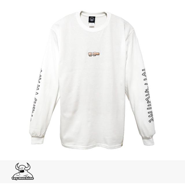 2019 F/W TOY MACHINE FIST EMBRO LONG SLEEVE TEE   WHITE / トイマシーン Tシャツ