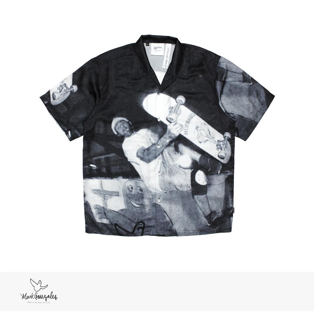 MARK GONZALES ALL OVER PRINT OPEN COLLAR S/S SHIRT | BLACK / マークゴンザレス シャツ