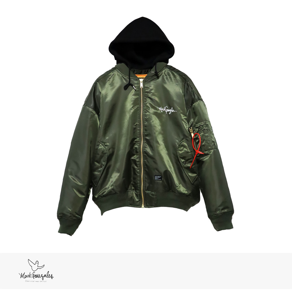 MARK GONZALES 80S DETACHABLE HOODED MA-1 | KHAKI / マークゴンザレス ジャケット