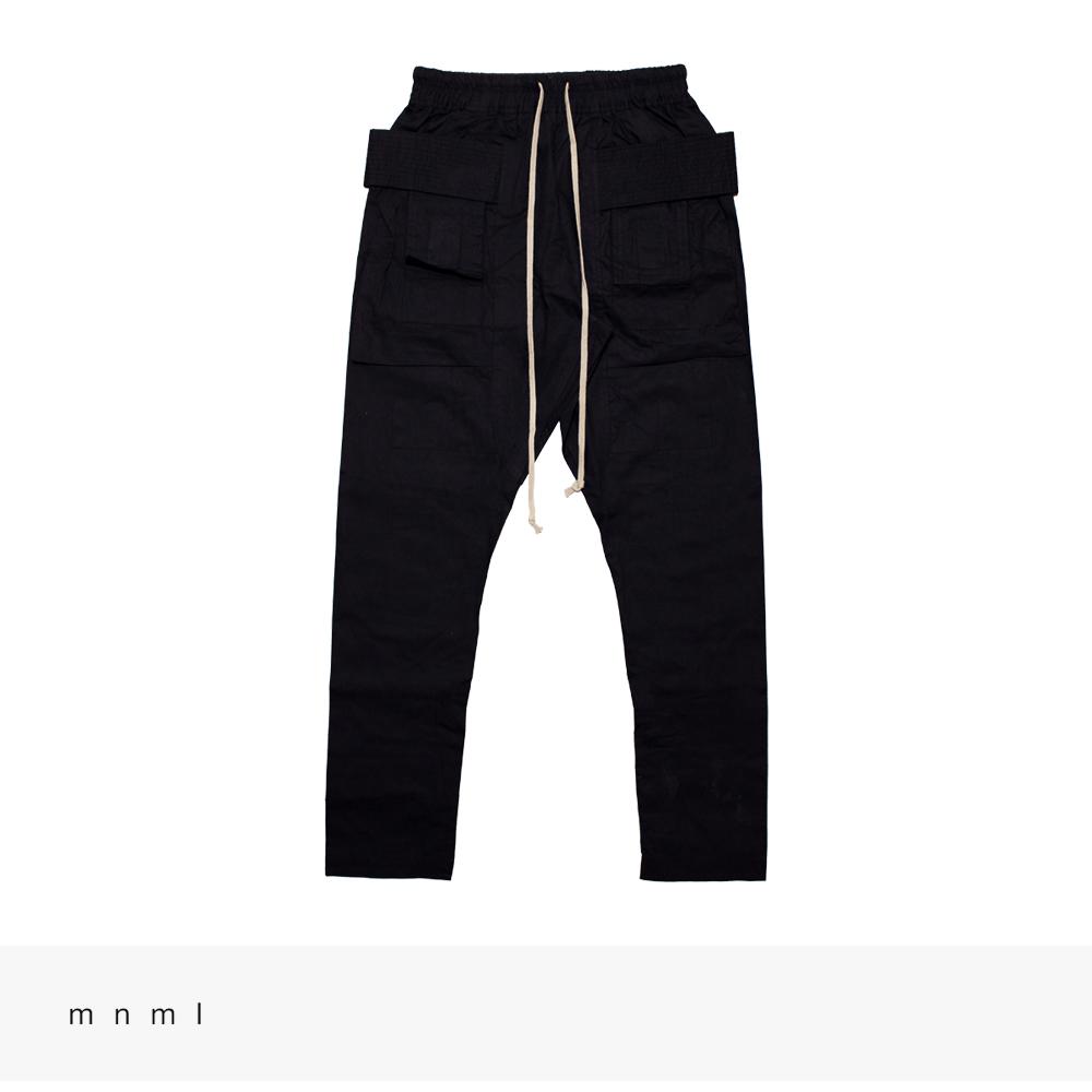 mnml DROP CROTCH CARGO PANTS   BLACK / ミニマル パンツ