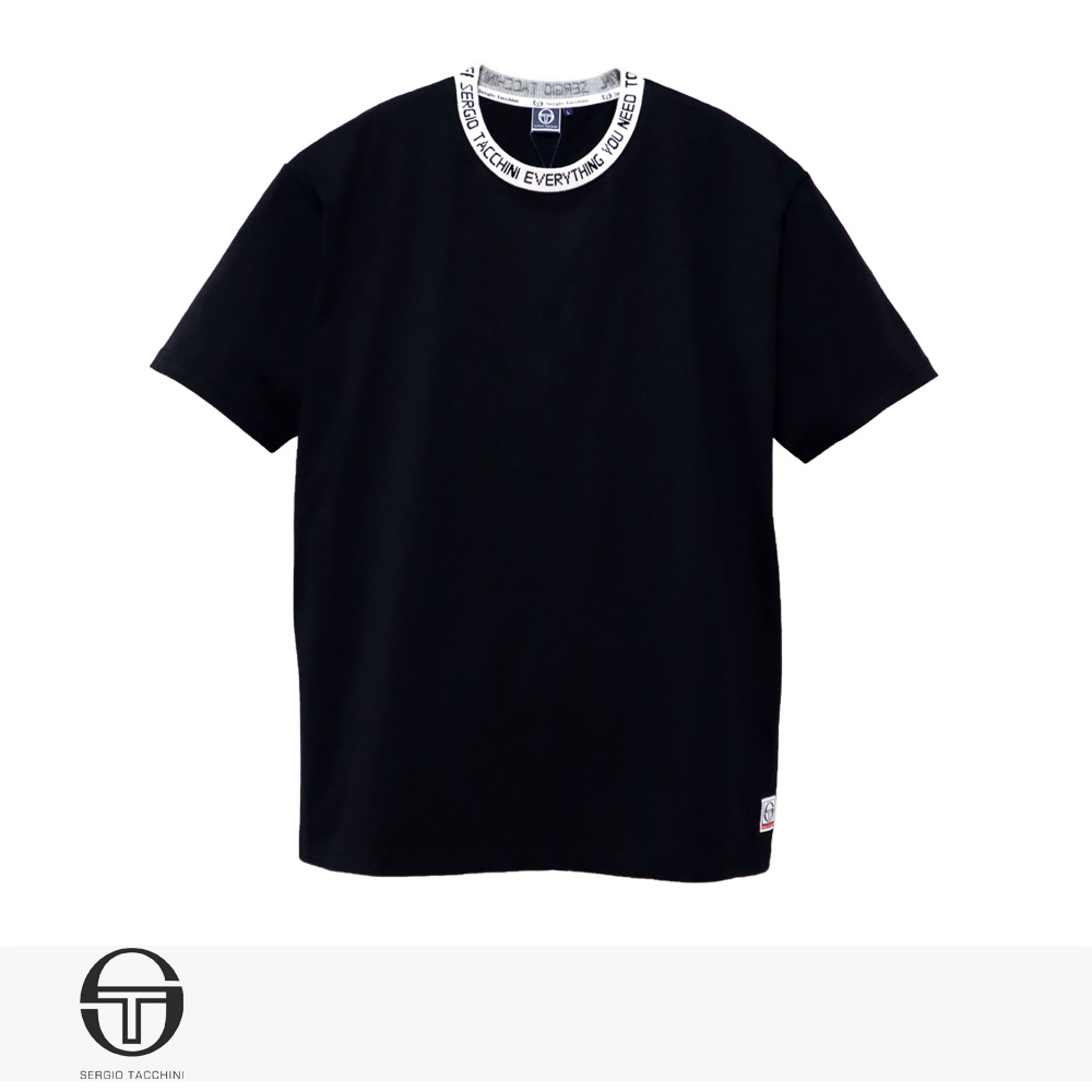 SERGIO TACCHINI LOGO JAQUARD RIB T-SHIRT | BLACK / セルジオタッキーニ Tシャツ