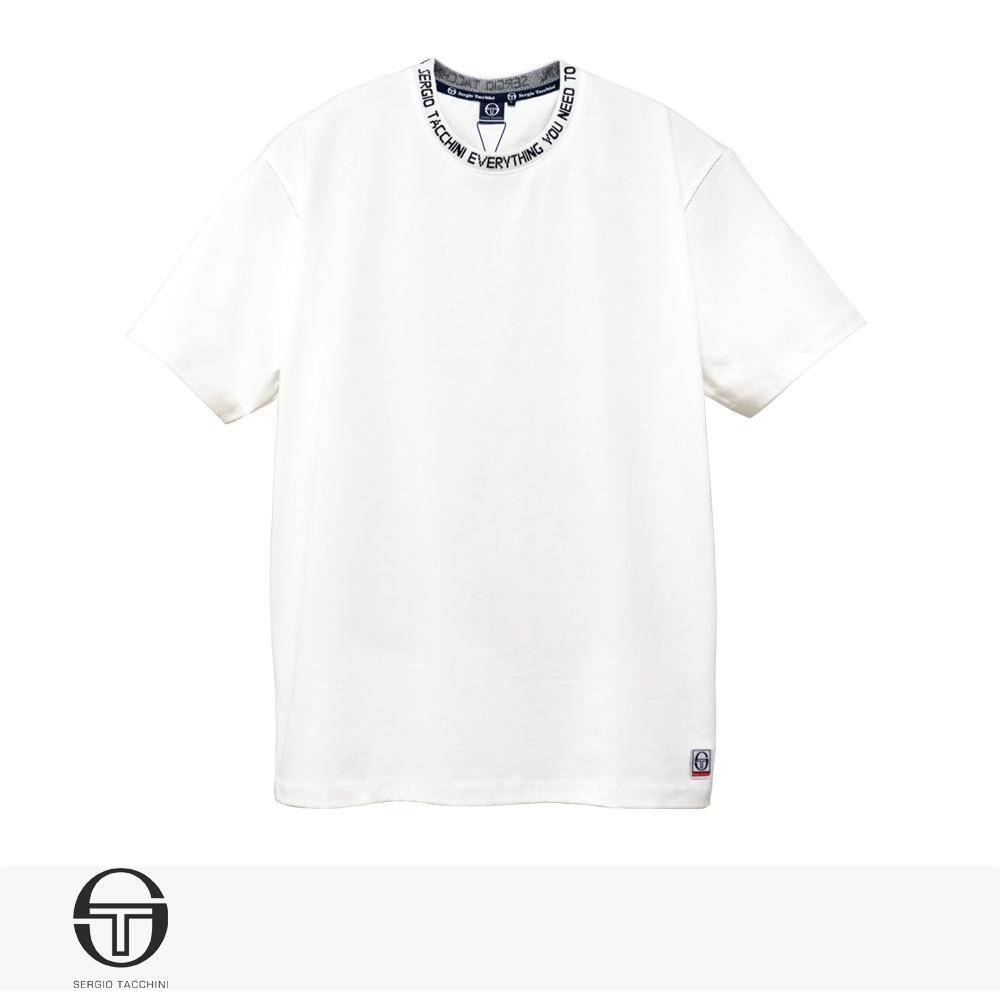 2020 S/S SERGIO TACCHINI LOGO JAQUARD RIB T-SHIRT   WHITE / セルジオタッキーニ Tシャツ