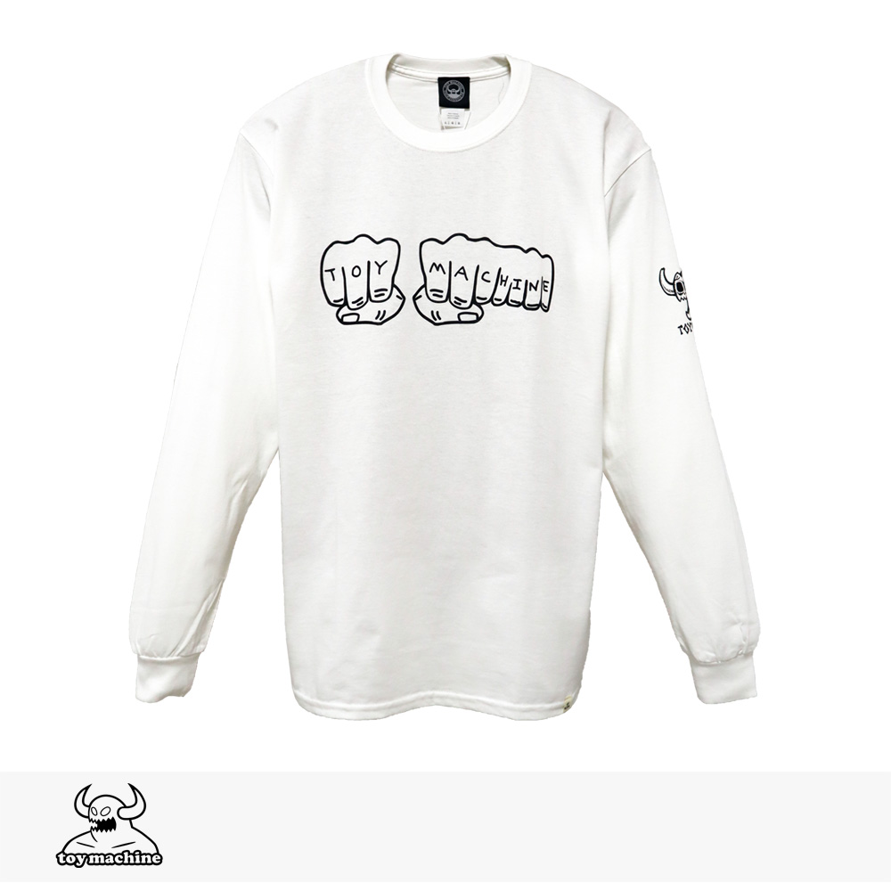 2019 F/W TOY MACHINE FIST LONG SLEEVE TEE | WHITE / トイマシーン Tシャツ
