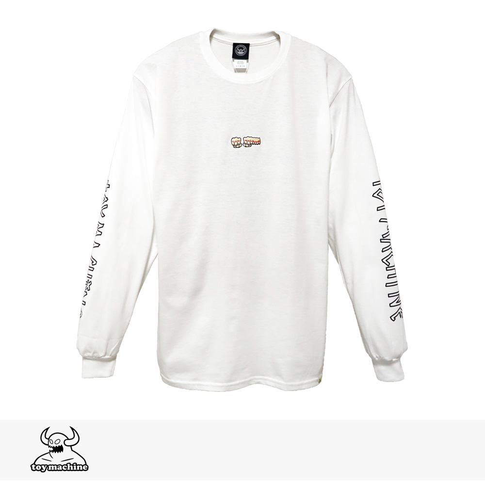 2019 F/W TOY MACHINE FIST EMBRO LONG SLEEVE TEE | WHITE / トイマシーン Tシャツ