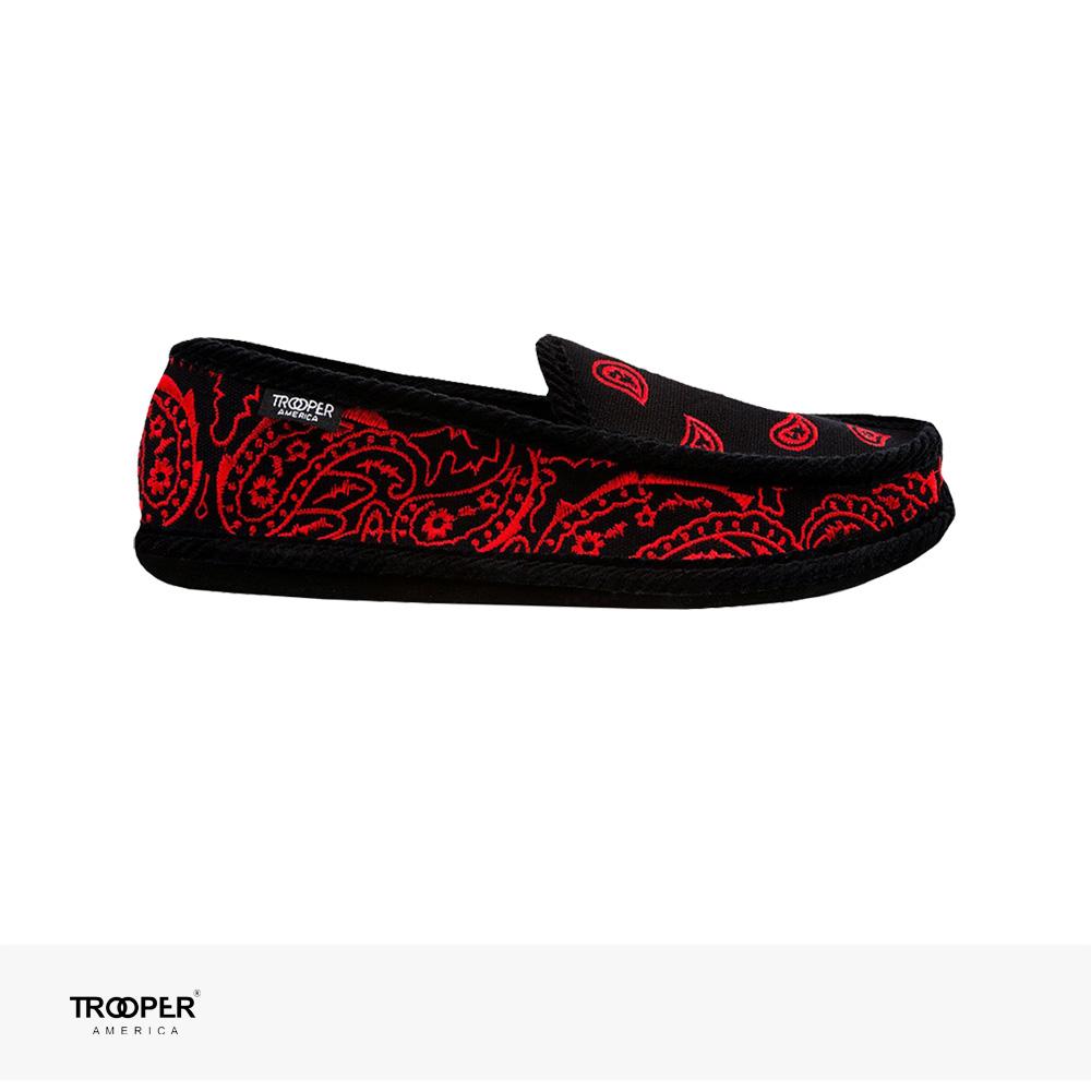 TROOPER AMERICA SLIP ON BANDANA EMBROIDERY   BLACK   RED / トゥルーパーアメリカ スリッポン