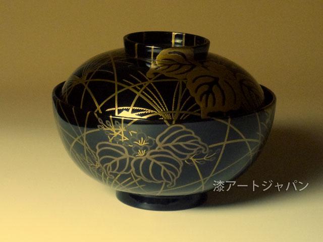 蒔絵吸い物椀「桐と秋草」