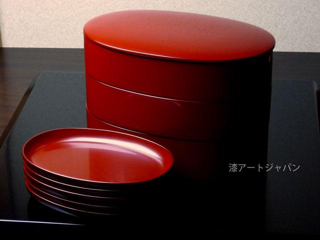 楕円三段重と取り皿5枚セット(本朱)