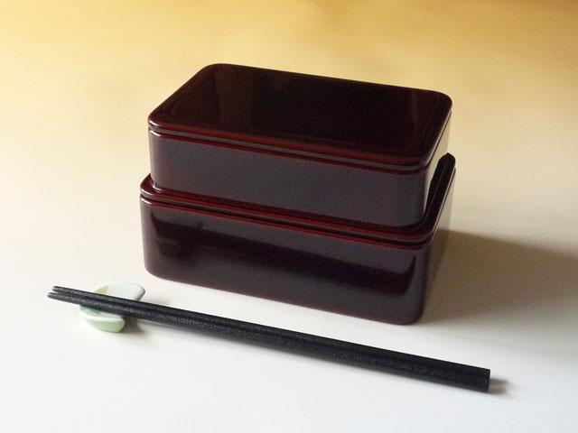 輪島漆塗 二段入れ子 竹の子弁当箱 には「すべらん箸」もぴったり