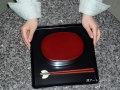 2段弁当箱と(本朱)と箸(うるみ)「お一人様昼膳セット」