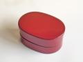 小判型 二段弁当箱 赤
