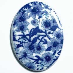 40×30 アクリルカメオ 青花