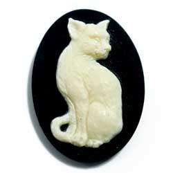 25×18 アクリルカメオ ネコ 黒