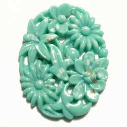 35×27 グラスカボ 彫刻花 ターコイズ