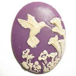 40×30 アクリルカメオ ハミングバード 紫
