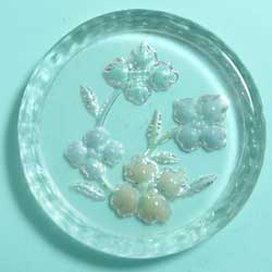 24mm グラスインタリオ 彫刻花 カラフル
