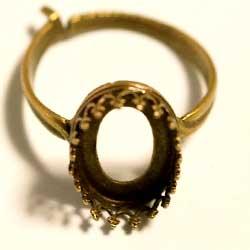 指輪ベース 14×10オーバル用 真鍮古美