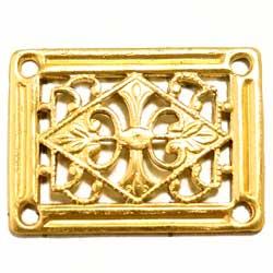 フィリグリー 長方形 4穴 真鍮