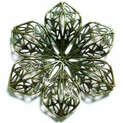 フィリグリー 6枚花 真鍮古美