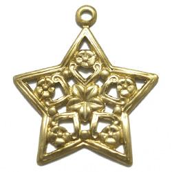 フィリグリー 星&花 1カン付 真鍮