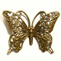 フィリグリー 羽模様 蝶 真鍮古美