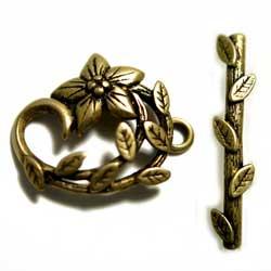 トグル JBB 花と葉 真鍮古美