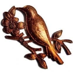 スタンピング 花の枝と鳥 真鍮古美