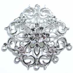 シャンデリア 6カン 花飾り 銀