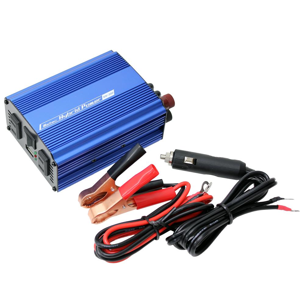 DC/AC USB&コンセント サイレントインバーター SIV-300 300W 12V(家庭用AC100V変換)